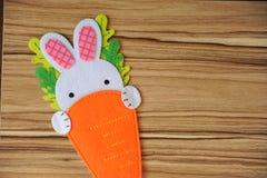 逗人喜爱的兔子用在木纹理的一棵红萝卜 设计的一个地方 compisition复活节 库存图片