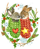 逗人喜爱的兔子 袋子看板卡圣诞节霜klaus ・圣诞老人天空 森林动物 水彩冬天森林例证 圣诞节花圈框架 水彩冬天holid 免版税库存照片