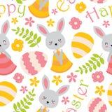 逗人喜爱的兔宝宝、花和鸡蛋仿造墙纸 库存图片