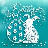 逗人喜爱的兔宝宝和鸡蛋复活节天贺卡的 免版税库存图片