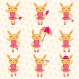 逗人喜爱的兔宝宝女孩被设置 免版税库存图片