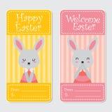 逗人喜爱的兔宝宝女孩适用于愉快的复活节卡片设计 免版税库存照片