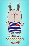 逗人喜爱的兔宝宝 明信片到亲人 免版税库存照片