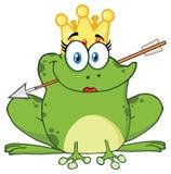 逗人喜爱的公主Frog Cartoon与冠和箭头的Mascot Character 向量例证