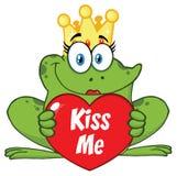 逗人喜爱的公主Frog Cartoon与拿着与文本的冠的Mascot Character爱心脏亲吻我 库存例证