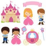 逗人喜爱的公主和王子童话 免版税库存照片