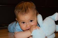 逗人喜爱的六个月使用与蓝色女用连杉衬裤的男婴涉及地板,长牙齿和早期的发展概念 免版税库存图片