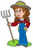 逗人喜爱的农场女孩 免版税库存图片