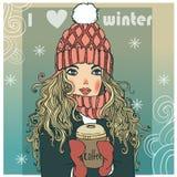 逗人喜爱的冬天女孩用咖啡 库存例证