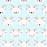 逗人喜爱的凉快的无缝的样式小动物农场山羊 皇族释放例证