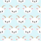逗人喜爱的凉快的无缝的样式小动物农场山羊 库存例证