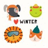 逗人喜爱的动物冬天集合 皇族释放例证