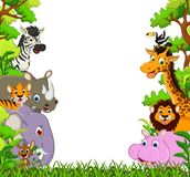 逗人喜爱的动物动画片有热带森林背景 免版税图库摄影