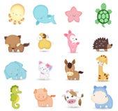 逗人喜爱的动物动画片 库存照片