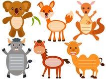 逗人喜爱的动物图标/标签/标签 免版税库存图片