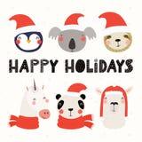 逗人喜爱的动物圣诞节集合 库存例证