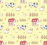 逗人喜爱的动物在与母牛、绵羊和鸡的农厂无缝的背景中 向量例证