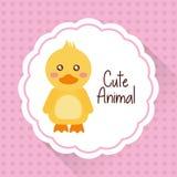 逗人喜爱的动物小鸭子动画片心脏背景 库存例证