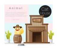 逗人喜爱的动物汇集猫房子 库存照片