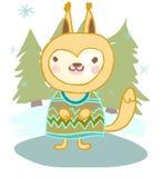 逗人喜爱的动物灰鼠在冬天和圣诞树 库存图片
