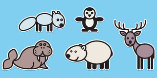逗人喜爱的动物设置了�例证 免版税库存照片