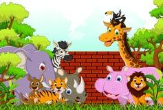 逗人喜爱的动物野生生物动画片 免版税库存照片