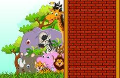 逗人喜爱的动物野生生物动画片 库存照片