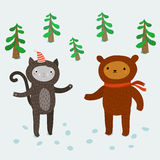 逗人喜爱的动物 2007个看板卡招呼的新年好 库存图片