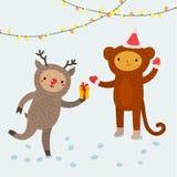 逗人喜爱的动物 2007个看板卡招呼的新年好 免版税图库摄影