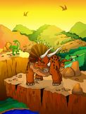 逗人喜爱的动画片三角恐龙有风景背景 库存图片