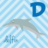 逗人喜爱的动画片动物园说明了与滑稽的动物的字母表 西班牙字母表:Delfin的D 向量例证