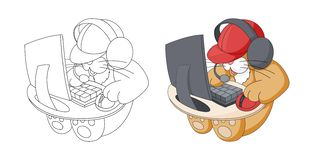 逗人喜爱的动画片动物 打在电脑游戏的坐的全部赌注 r 皇族释放例证
