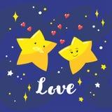 逗人喜爱的动画片夫妇在夜空和手写的题字爱担任主角 图库摄影