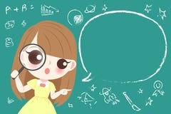 逗人喜爱的动画片女学生 库存图片
