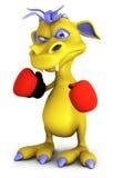 逗人喜爱的动画片妖怪佩带的拳击手套。 免版税库存图片