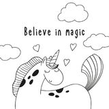 逗人喜爱的动画片小马独角兽和题字相信魔术 库存图片
