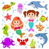 逗人喜爱的动画片海洋动物和美人鱼 向量例证