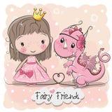 逗人喜爱的动画片童话公主和龙 库存图片