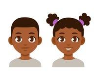 逗人喜爱的动画片黑色孩子 向量例证