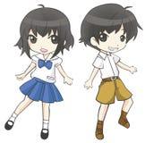 逗人喜爱的动画片亚裔泰国学生夫妇女小学生和男小学生 库存照片