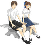 逗人喜爱的动画片亚洲泰国学生夫妇在政府高中 免版税库存照片