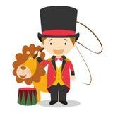 逗人喜爱的动画片传染媒介例证更加驯狮者 向量例证