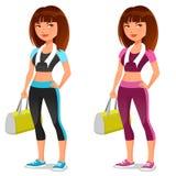 逗人喜爱的动画片健身女孩 图库摄影