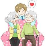 逗人喜爱的动画片儿子拥抱他们的老长辈父母 库存照片