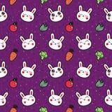 逗人喜爱的动画片兔子无缝的传染媒介样式 库存照片