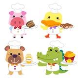 逗人喜爱的动画片动物厨师收藏 免版税库存图片