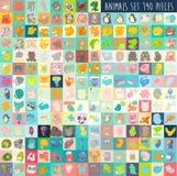 逗人喜爱的动画片动物设置了190个片断,例证,手拉 免版税库存照片