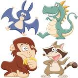 逗人喜爱的动画片动物集合 免版税库存照片
