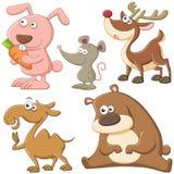 逗人喜爱的动画片动物集合 库存照片