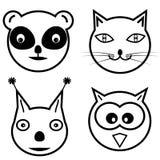 逗人喜爱的动画片动物头圆形 库存照片
